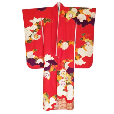 Silk red furisode